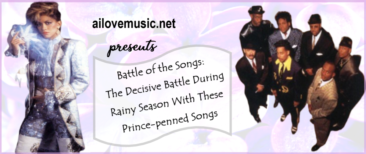 80s Musicans Sheila E and The Time appear for the Battle of the Songs with flowers in the background