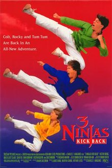 "Movie Poster for the 90s movie ""3 Ninjas Kick back"""