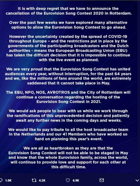 Eurovision 2020 cancellation notice